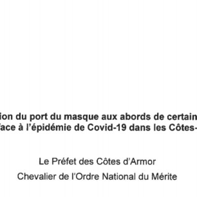 Arrêté préfectoral - Port du masque obligatoire