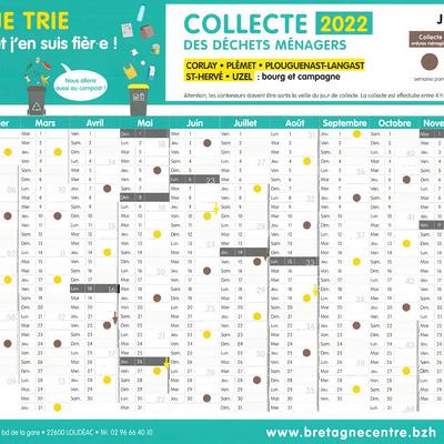 Calendrier 2021 de collecte des « ordures ménagères » et du « tri sélectif »