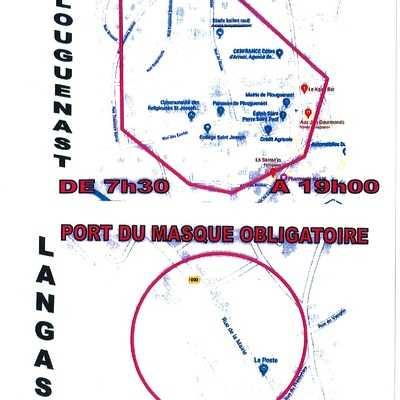 Plan du centre Plouguenast-Langast / Port du masque obligatoire