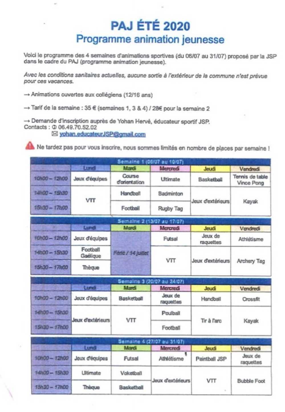 JSP Animations jeunesse : renseignements et inscriptions programmejspete2020