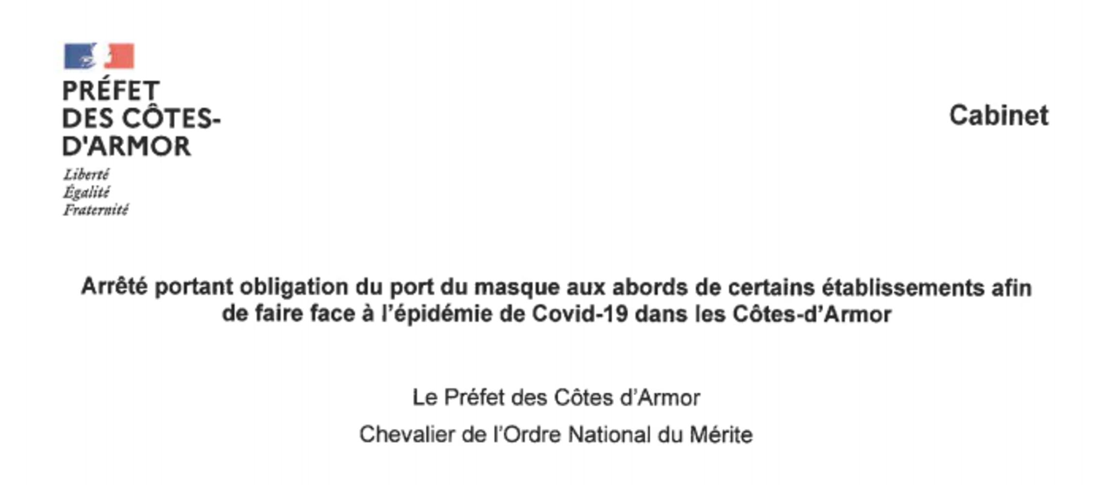 Arrêté préfectoral - Port du masque obligatoire 0
