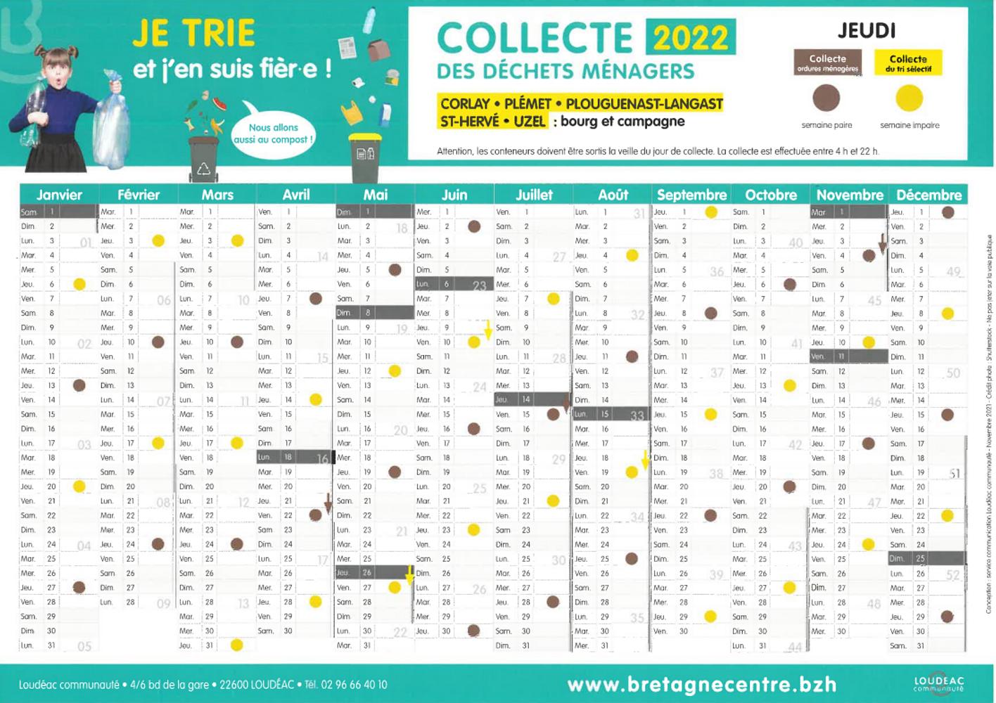 Calendrier 2021 de collecte des « ordures ménagères » et du « tri sélectif » 0