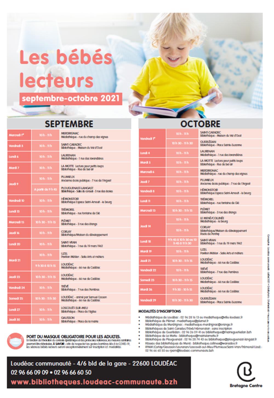 Planning des bébés lecteurs septembre / octobre 0